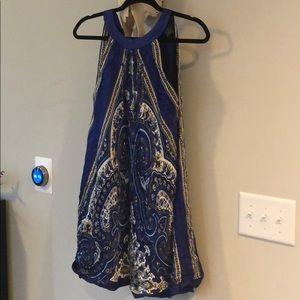 Arden B silk royal blue tie scarf dress